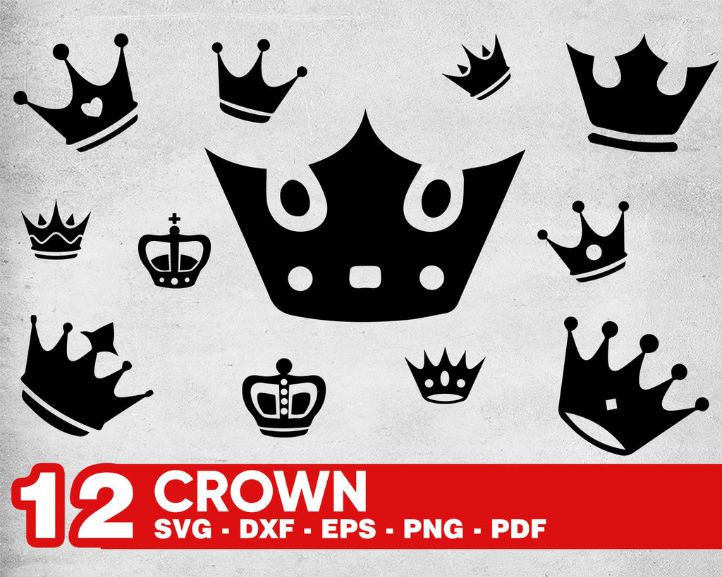 Royal Crown SVG File, King Crown, Queen Crown, Princess Tiara, Silhouette File, Cricut File, Cut File Vector, eps, dxf, png, svg