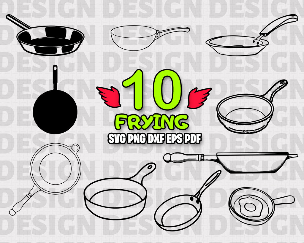 Frying SVG, Frying Pan SVG, Pan Vector, Frying Pan Clipart, Frying Pan Cut Files For Silhouette, Files for Cricut, Frying Pan Vector, Svg, Dxf, Png, Vinyl Design, Instant Download