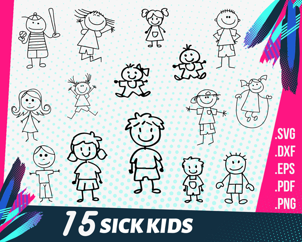 Stick kids svg bundle, Stick kids cut files, Stick kids clipart, cut files for cricut silhouette,png, dxf, eps,Laughing Children figures Svg