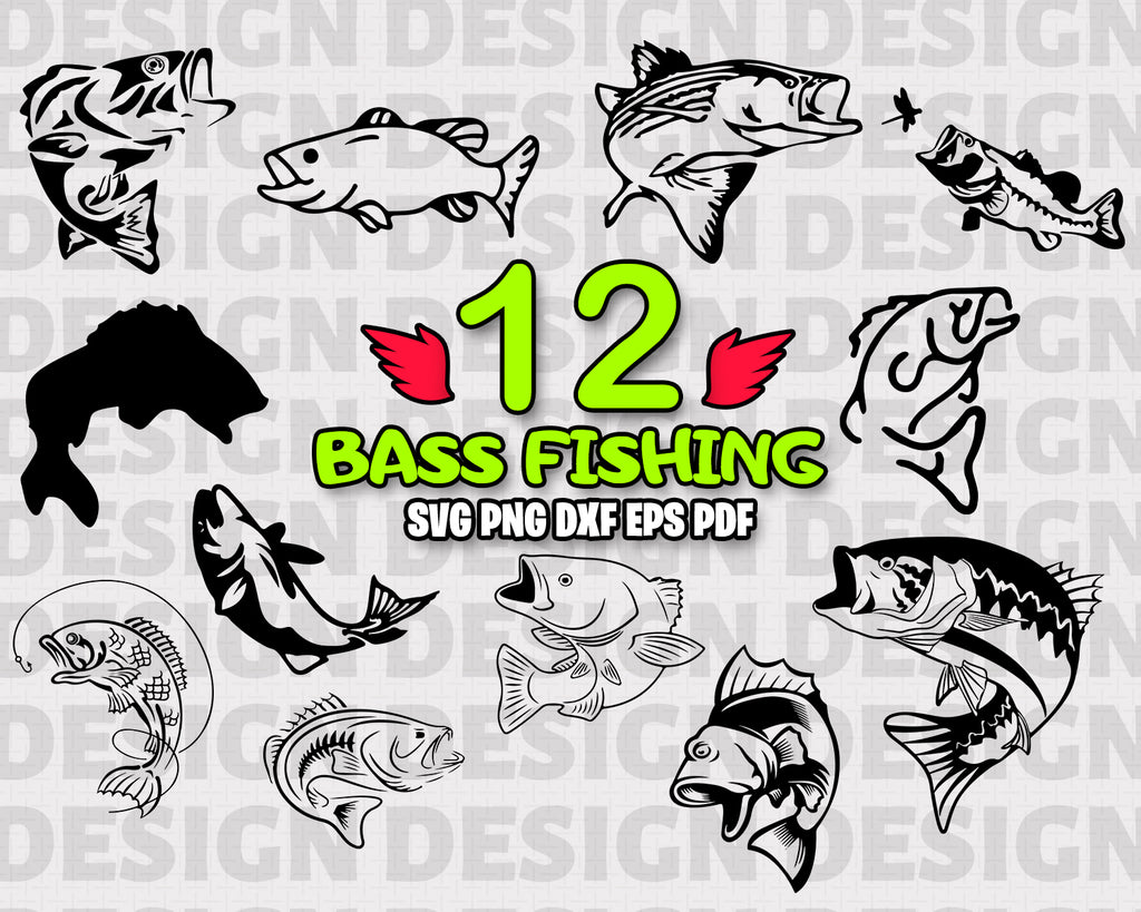 Bass fishing SVG, fishing svg, fish svg, bass svg, fisherman svg, sea bass svg, bass fish cut file, bass fishing svg, fishing pole svg, stencil, vinyl design, instant download