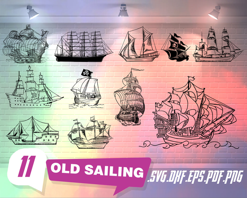Old Sailing svg, Old Sailing Ships Silhouettes png jpg svg eps files high resolution