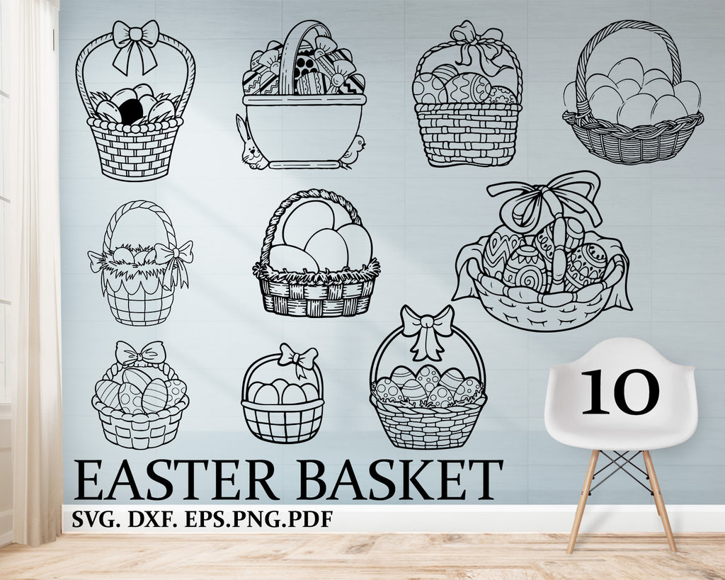 Easter Basket svg, egg svg, eggs svg, easter, happy easter svg, easter cut file, easter dxf, easter egg svg, basket