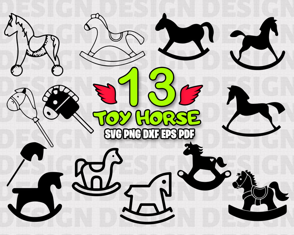 Toy Horse SVG Bundle, Rocking Horse Vector, Rocking Horse Clipart, Cut Files For Silhouette, Files for Cricut, Vector, Svg, Dxf, Png, Eps, Instant Download