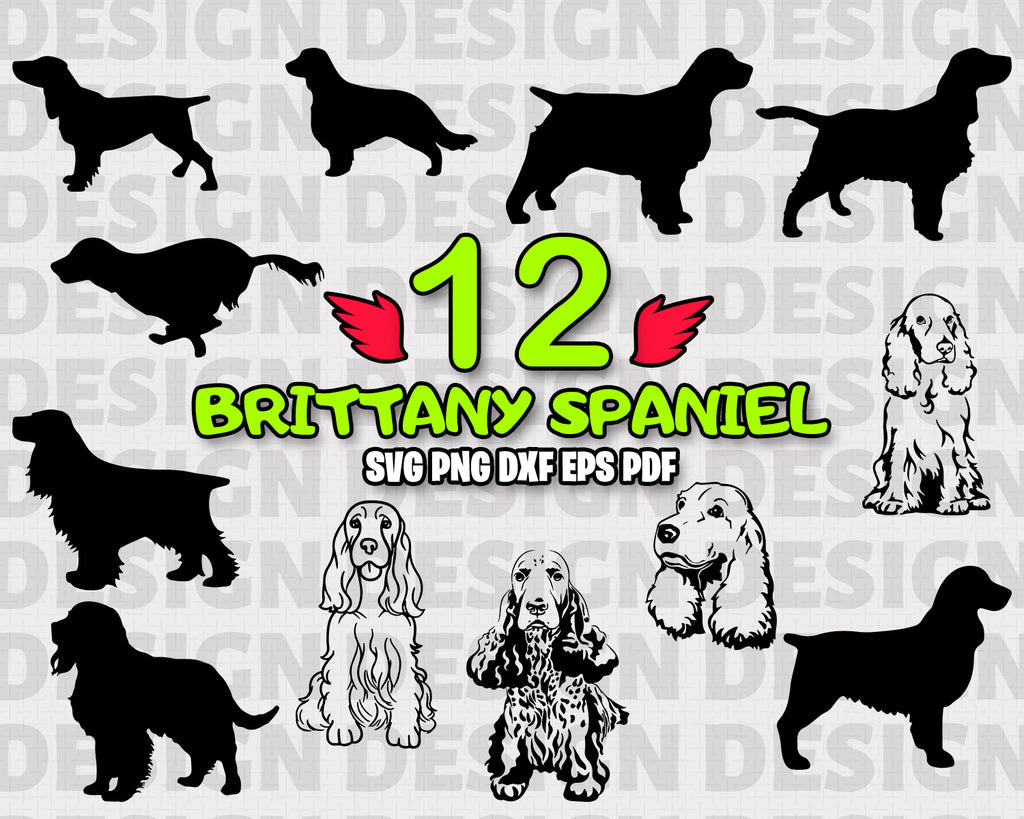 Brittany Spaniel SVG, silhouette English animals vector decal for cricut clipart bundle vinyl stickers eps dxf, dog, vinyl design, files for crafters, instant download