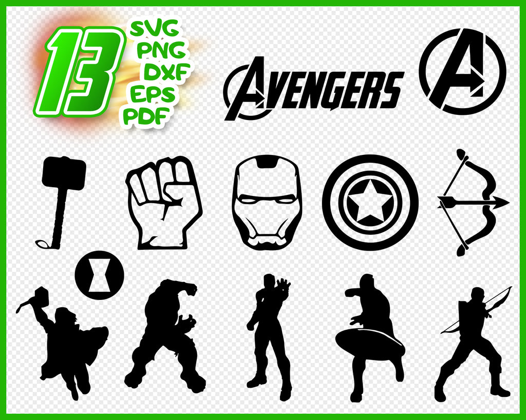 Avengers svg, marvel svg, avengers, thanos svg, superhero svg, tony stark svg, silhouette svg, svg cut file, vector files, the avengers