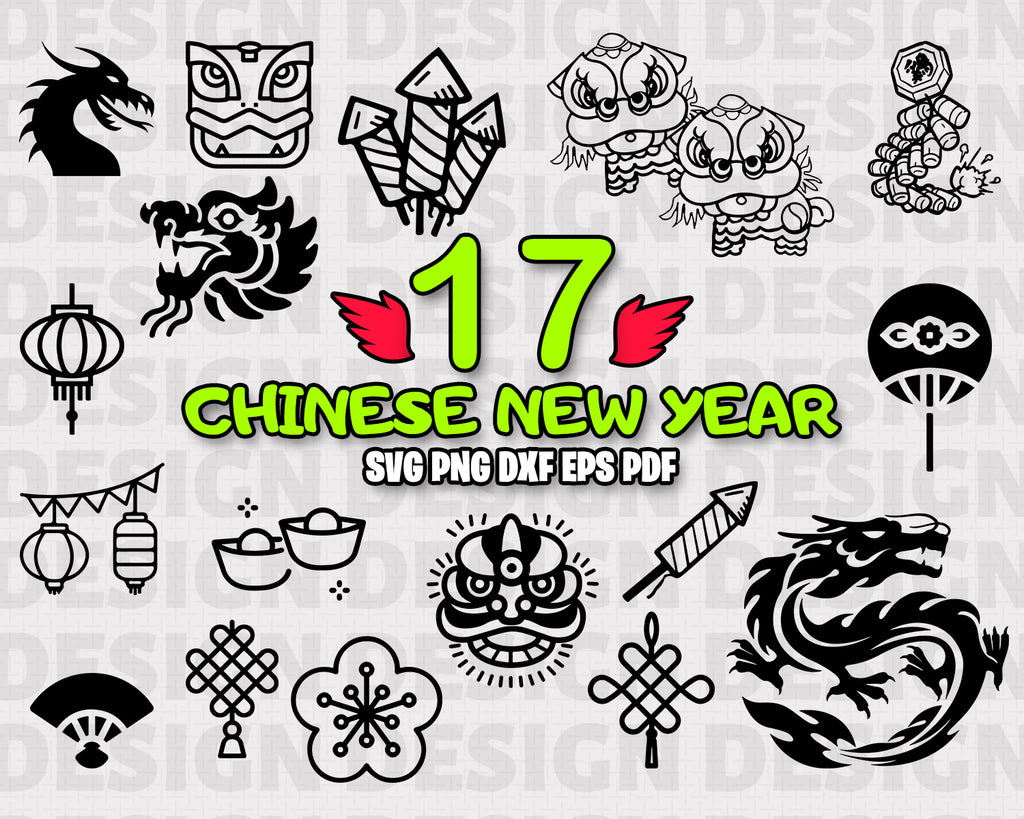 CHINESE NEW YEAR SVG, Holiday SVG, DXF, PNG, EPS, Cut File, vinyl decal, Cricut Design, Silhouette studio, digital instant download