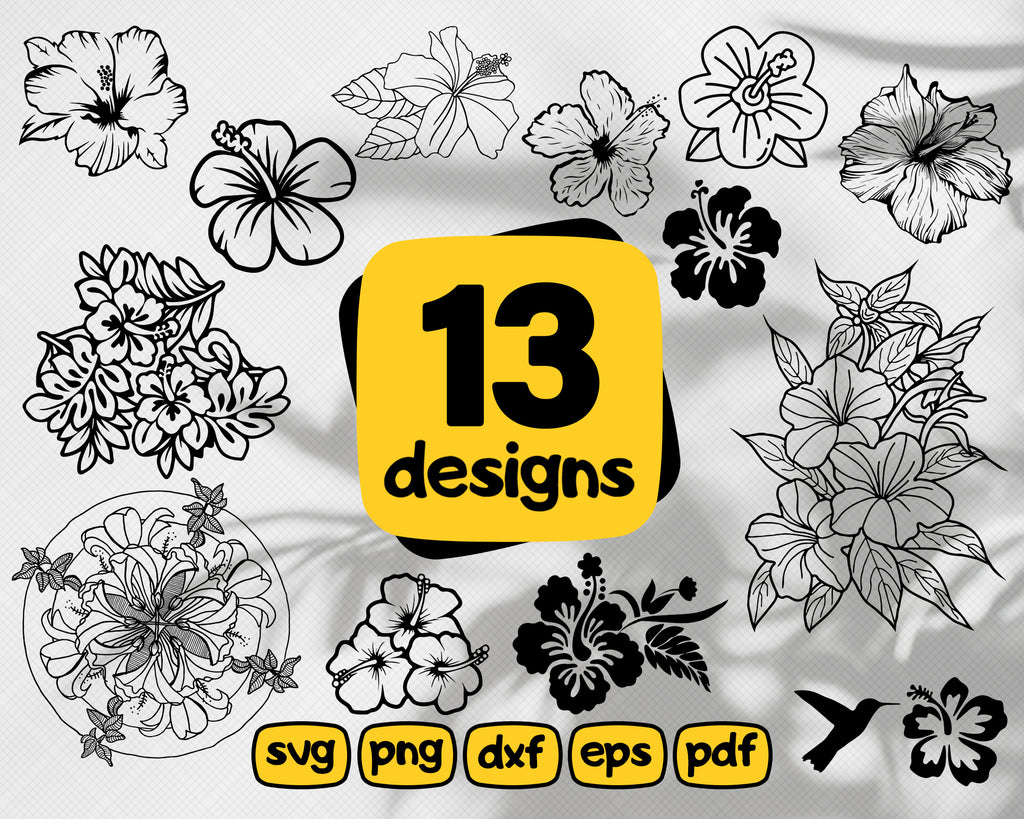 HIBISCUS SVG, flower svg, floral clipart, hibiscus vector, hibiscus clipart, hibiscus cut file, hibiscus silhouette, flower stencil, dxf