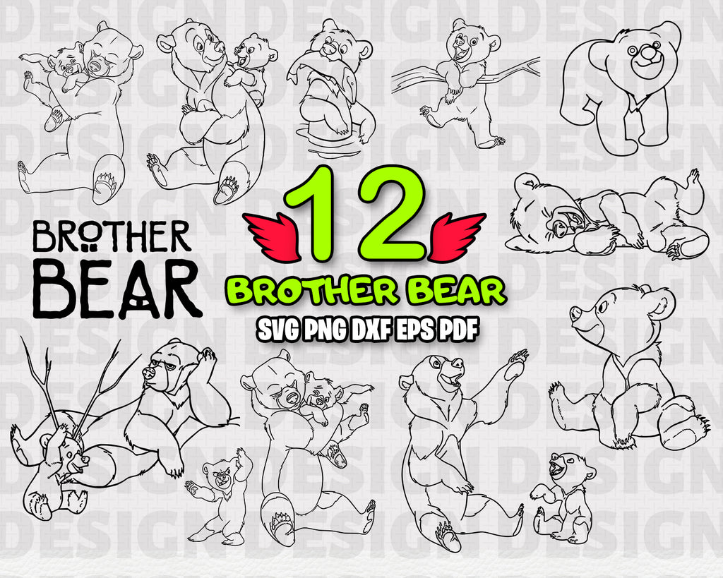 Brother Bear SVG, clipart, silhouette, animals, stencil, file cricut, cut file, cutting file, vector files - .EPS .DXF .SVG .PNG .PDF, vinyl design, files for crafters, instant download
