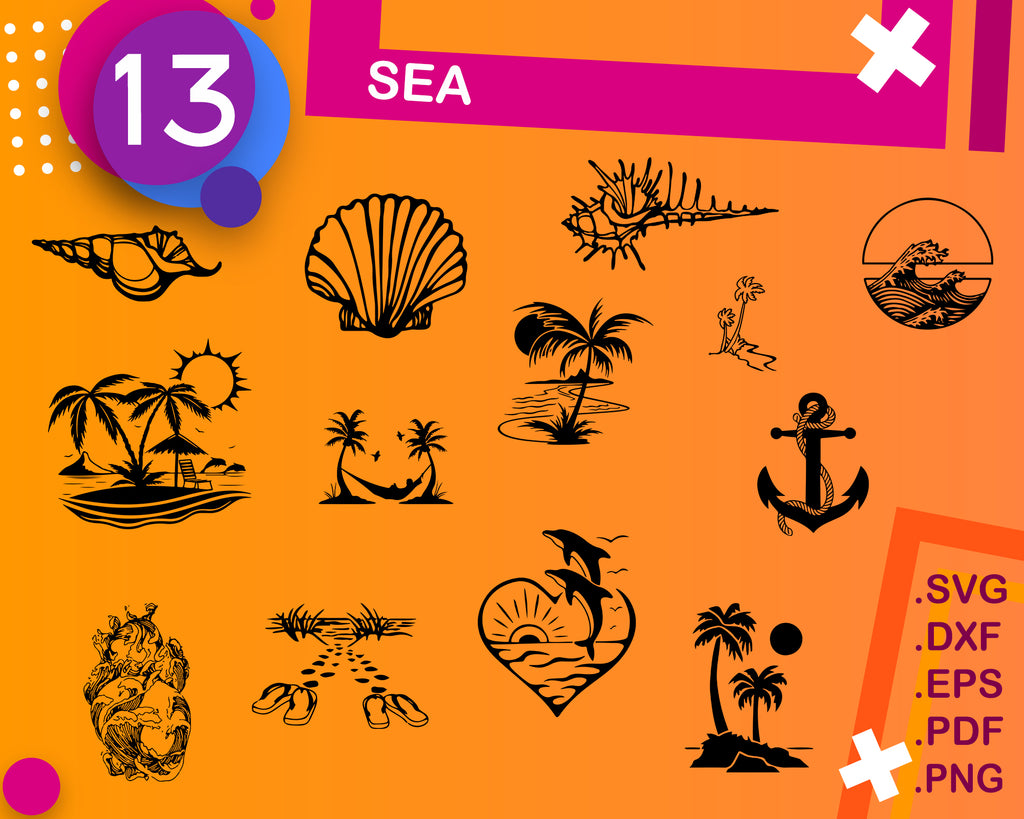 SEA SVG, ocean svg bundle, under the sea svg, ocean clipart, ocean animals svg, beach svg, clipart, dxf, png