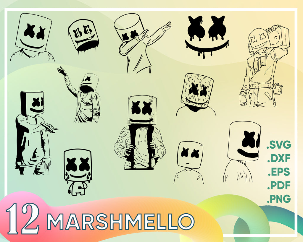 Marshmello svg,Dj marshmello, face, silhouette, clipart, vector. INSTANT DOWNLOAD, svg-png-eps-dxf-ai-jpg