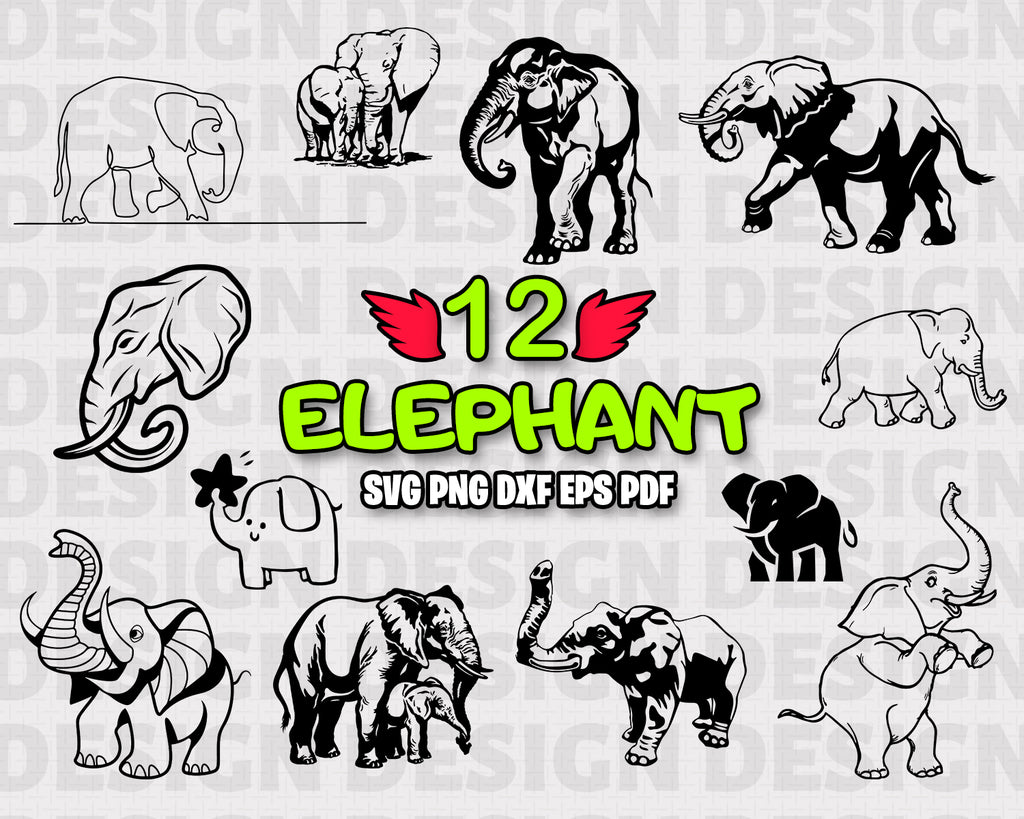Elephant SVG Cut File - Elephant Bundle SVG - Elephant Silhouette - Elephant Clipart - Animals - Elephant Vector - Digital File - Instant Download