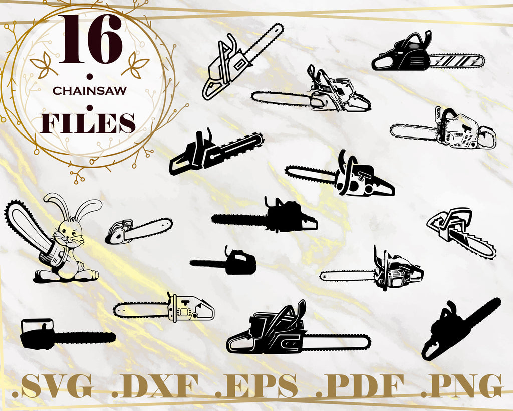 CHAINSAW SVG - Vector Images Clipart - Chain saw Cutting Files SVG Image For Cricut - Eps, Png, Dxf Stencil Clip Art - work tools svg, Digital Designs