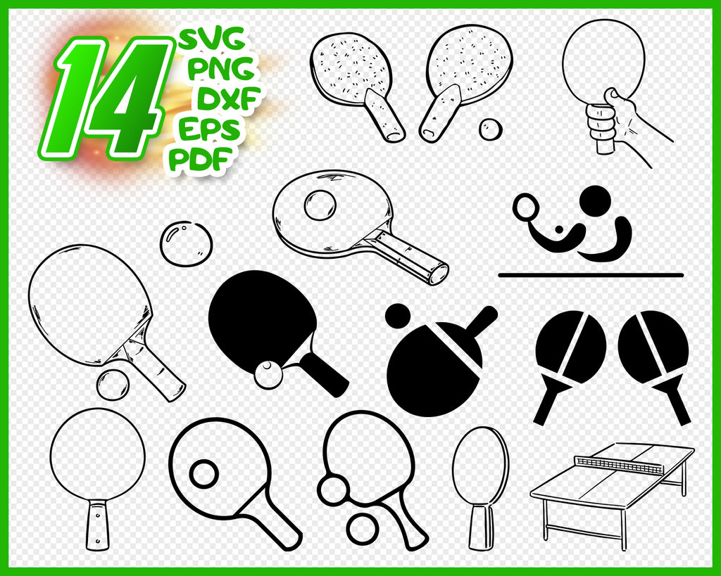 Table Tennis svg files Sport digital Game clipart Player download Ping Pong silhouette vector decal for cricut bundle