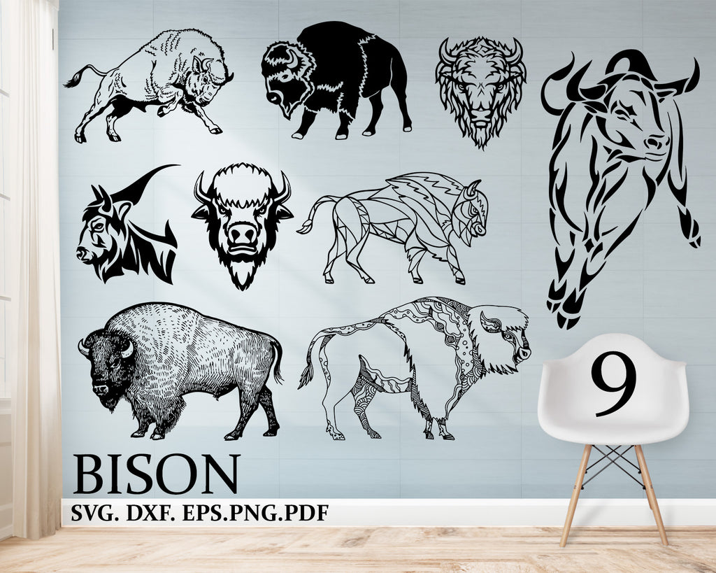 Bison svg, Buffalo Svg, Bison Clipart, Bison Files for Cricut, Bison Cut Files For Silhouette, Bison Dxf, Bison Png, Bison Eps