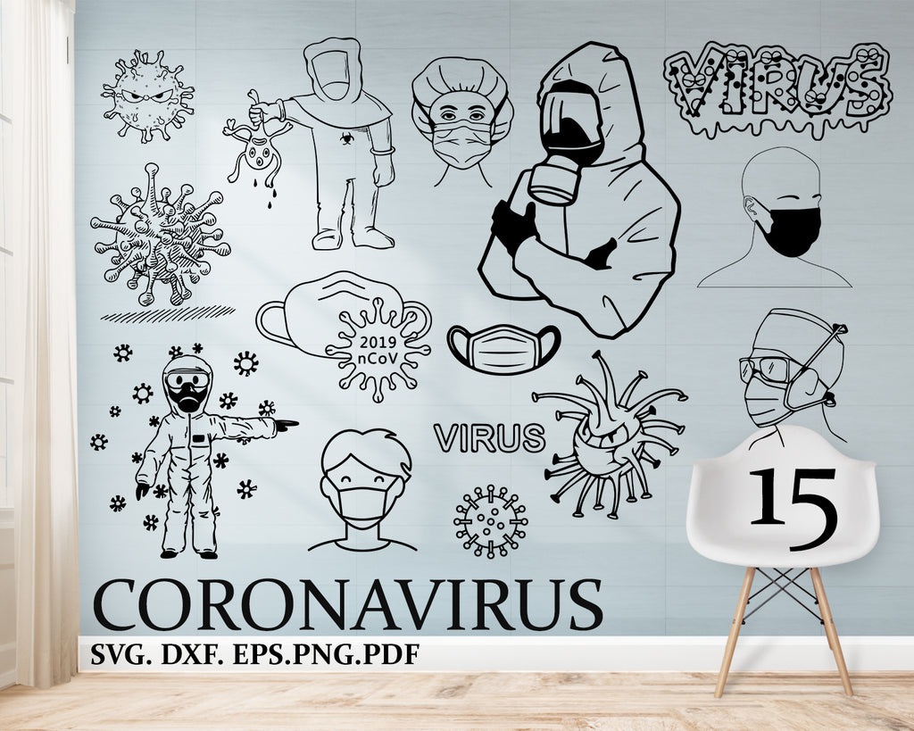 Coronavirus svg, covid-19, Corona Virus SVG,PNG - Digital Download - corona Virus File for printable art, planner, Virus sticker, Virus diy, Virus, mask, human in protective mask