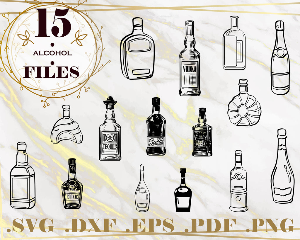 ALCOHOL SVG, clipart, silhouette, stencil, file cricut, cut file, cutting file, vector files - .EPS .DXF .SVG .PNG .PDF, vinyl design, files for crafters, instant download