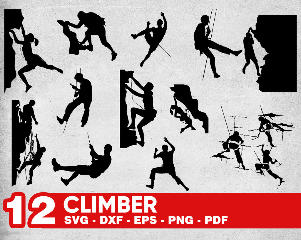 Climber svg, mountain climbing svg, climbing svg, mountaineer svg, alpinist svg, CLIMBER silhouette, cragsman silhouette, gift for climber, dxf, vector