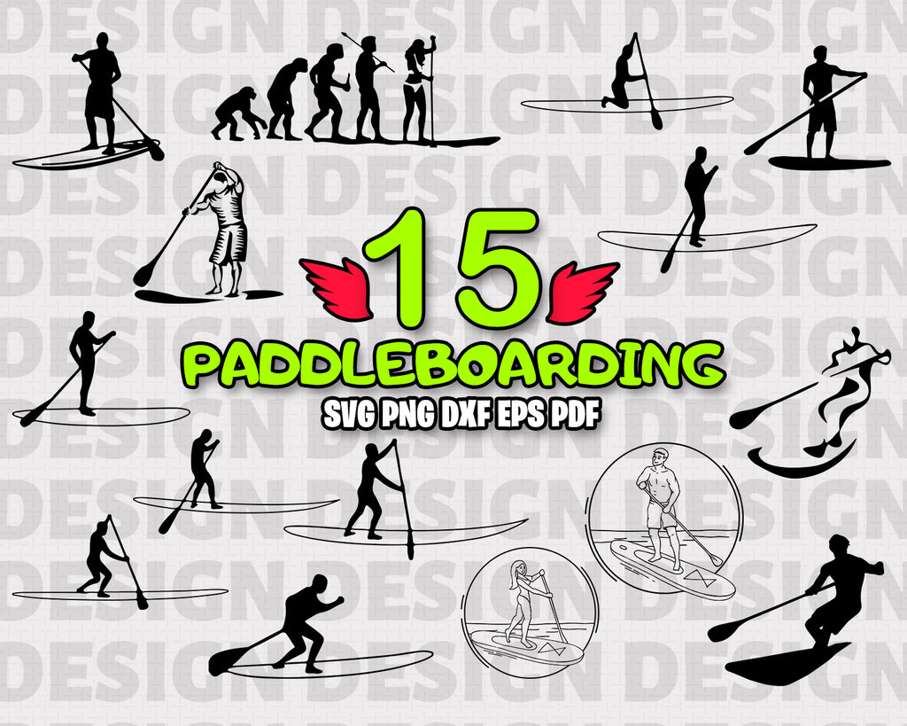 Paddle Boarding SVG, paddle boarding, Paddle Boarding Vector, Paddle boarding Clipart, Cut Files For Silhouette, Files for Cricut, Sport, Vector, Svg, Dxf, Png, Vinyl Design, Instant Download