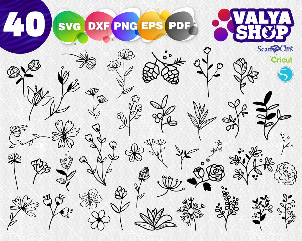 Flower Elements svg, Flowers svg, Floral elements eps, Silhouette Design, Cut file for cutting machines