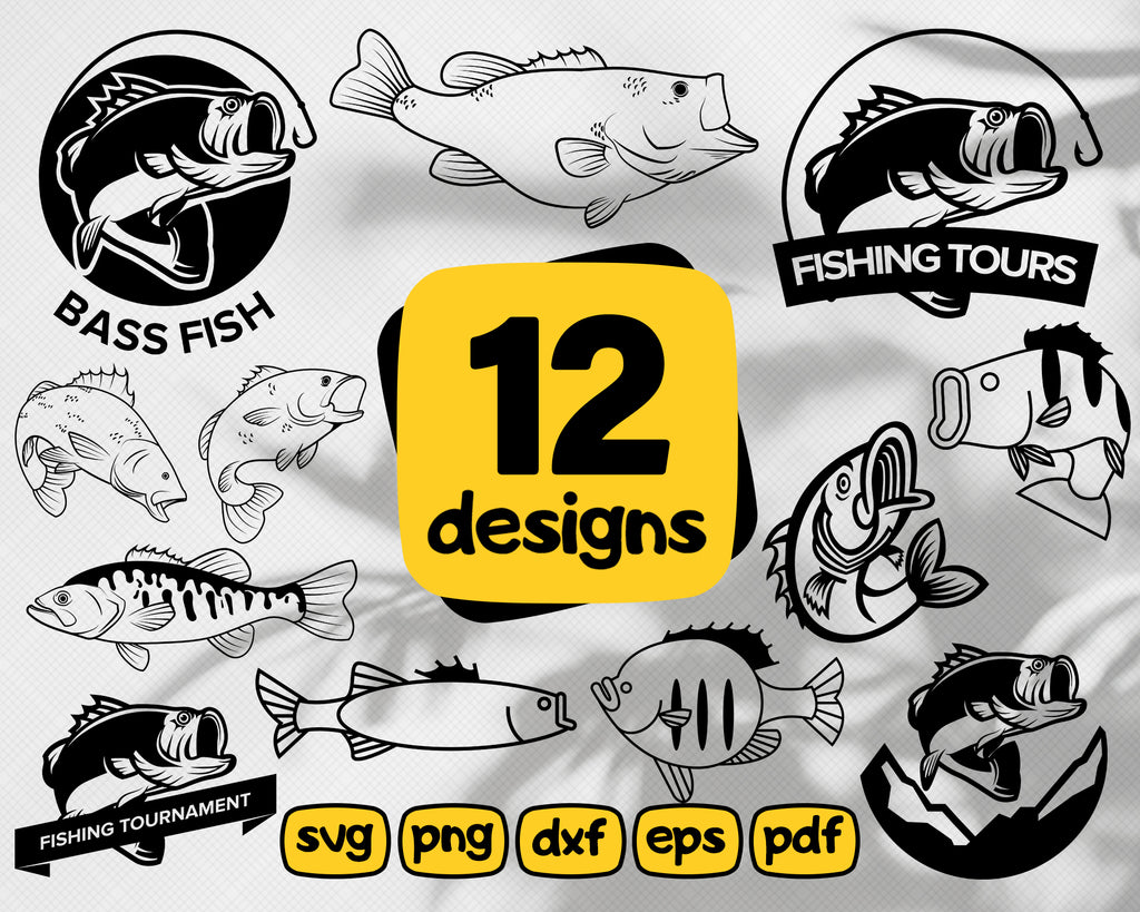 Bass fish svg, Fish SVG for Cricut, Silhouette - Fish silhouette - Fish png clipart - Fish dxf vector files