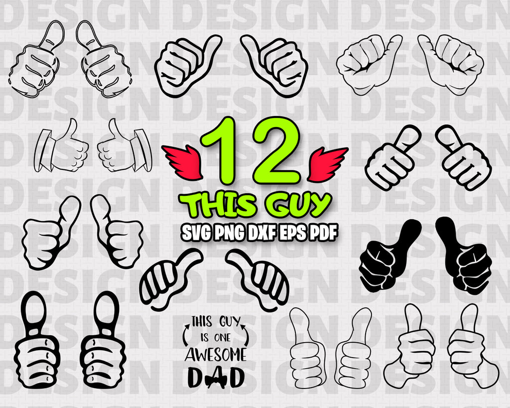 This Guy SVG Bundle, This Girl SVG, Clipart, This Guy Cut Files For Silhouette, Files for Cricut, Vector, Two Thumbs Up Svg, Dxf, Png, Vinyl Design, Instant Download