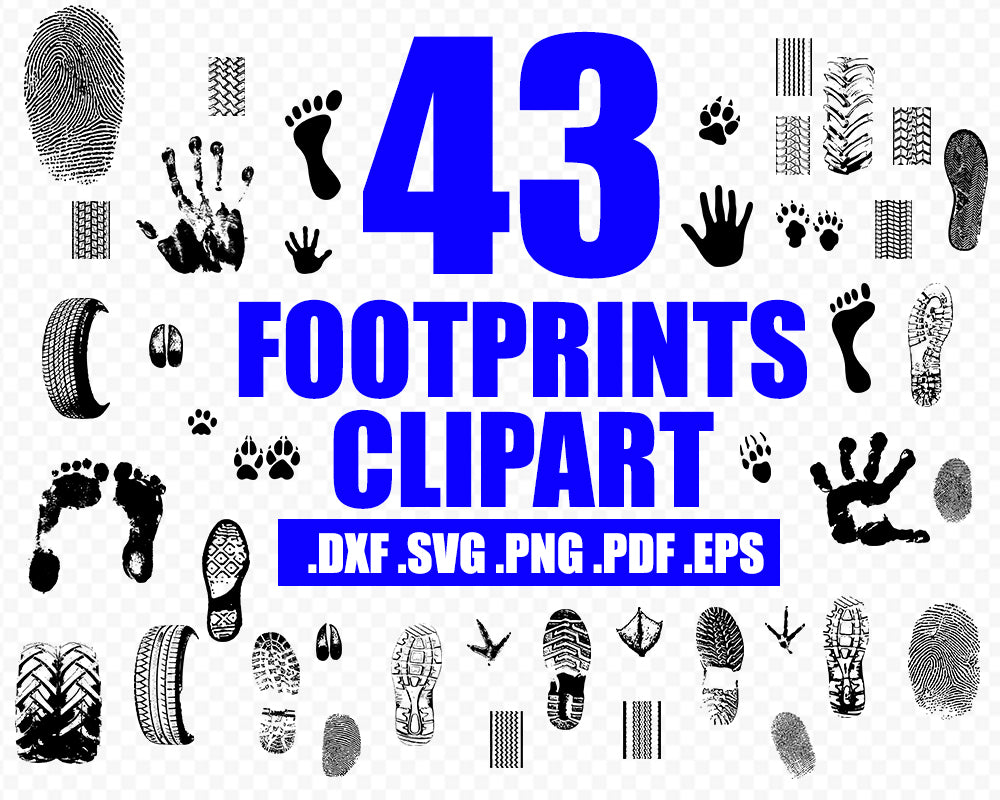 Handprint vector, footprint clipart, tread prints svg