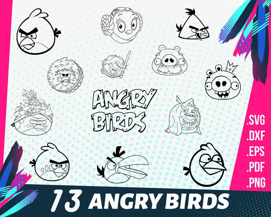 Angry birds svg, Angry Birds Clipart, svg png eps, cricut cutting file vector file printable silhouette, instant digital download
