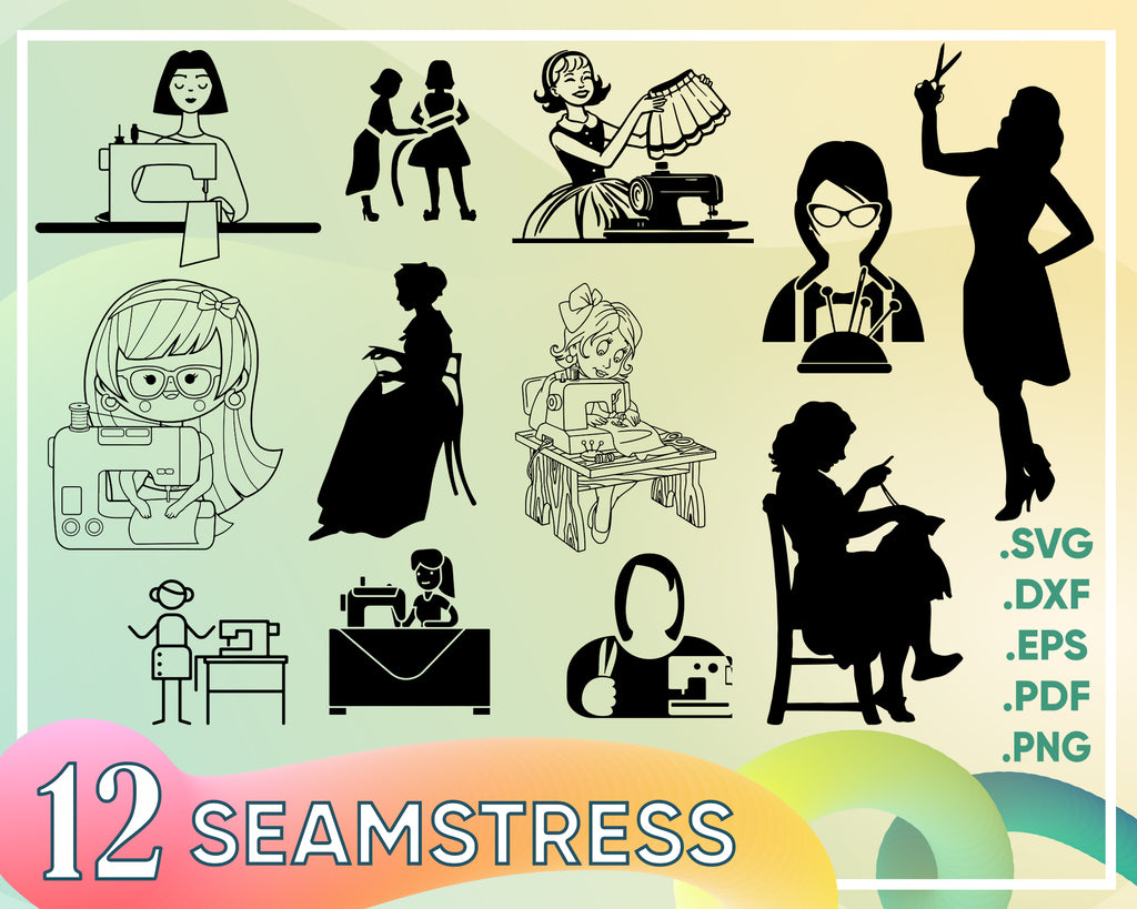 Seamstress svg, sewing svg, vintage sewing machine svg bundle, thread svg, sew svg, crafting svg, seamstress, hand made svg, needle, scissors svg cut file