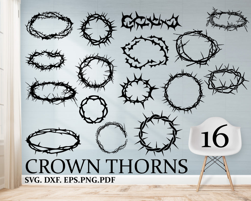 Crown Of Thorns Svg, Dxf, Eps, Png, Jpg, Vector Art, Clipart, Cut File, Crucifixion Svg, Religious Svg, Jesus Christ Svg, Christian Cut File