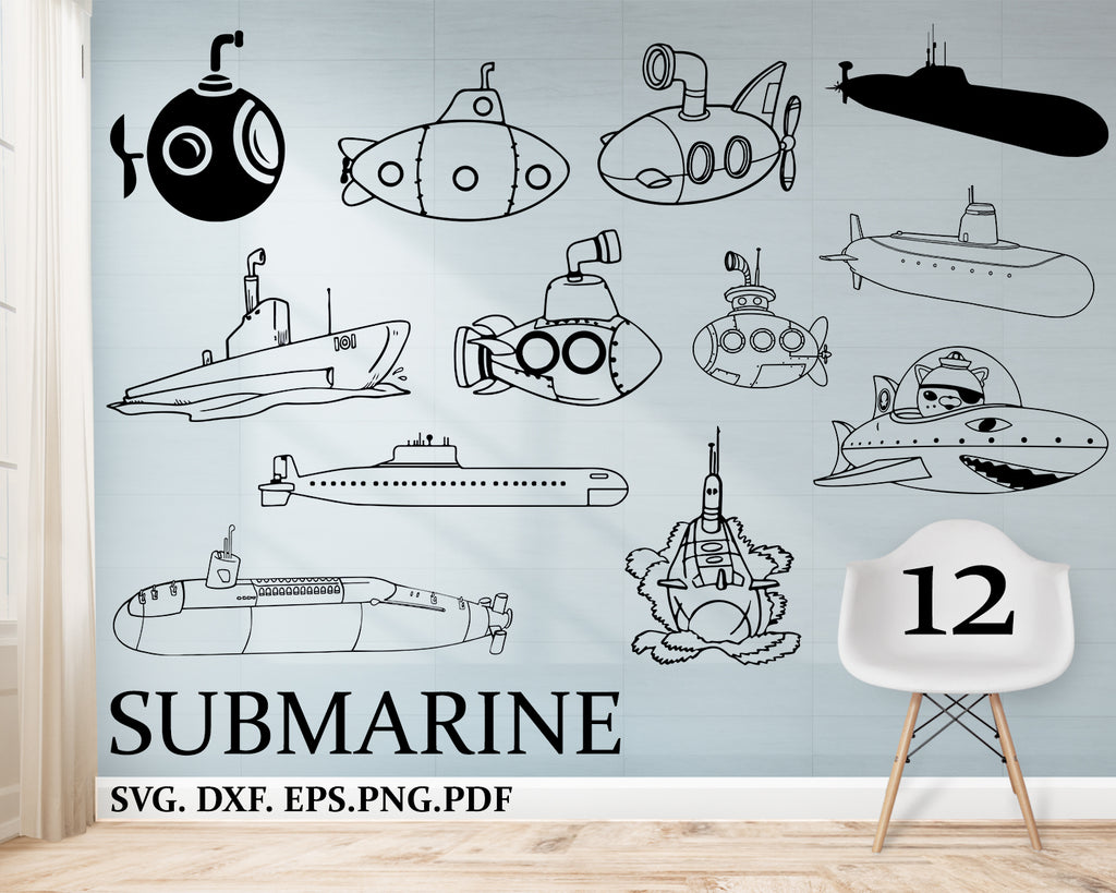 Submarine SVG Bundle, Submarine SVG, Clipart, Cut Files For Silhouette, Files for Cricut, Vector, Underwater Explorer Svg, Dxf, Png, Design
