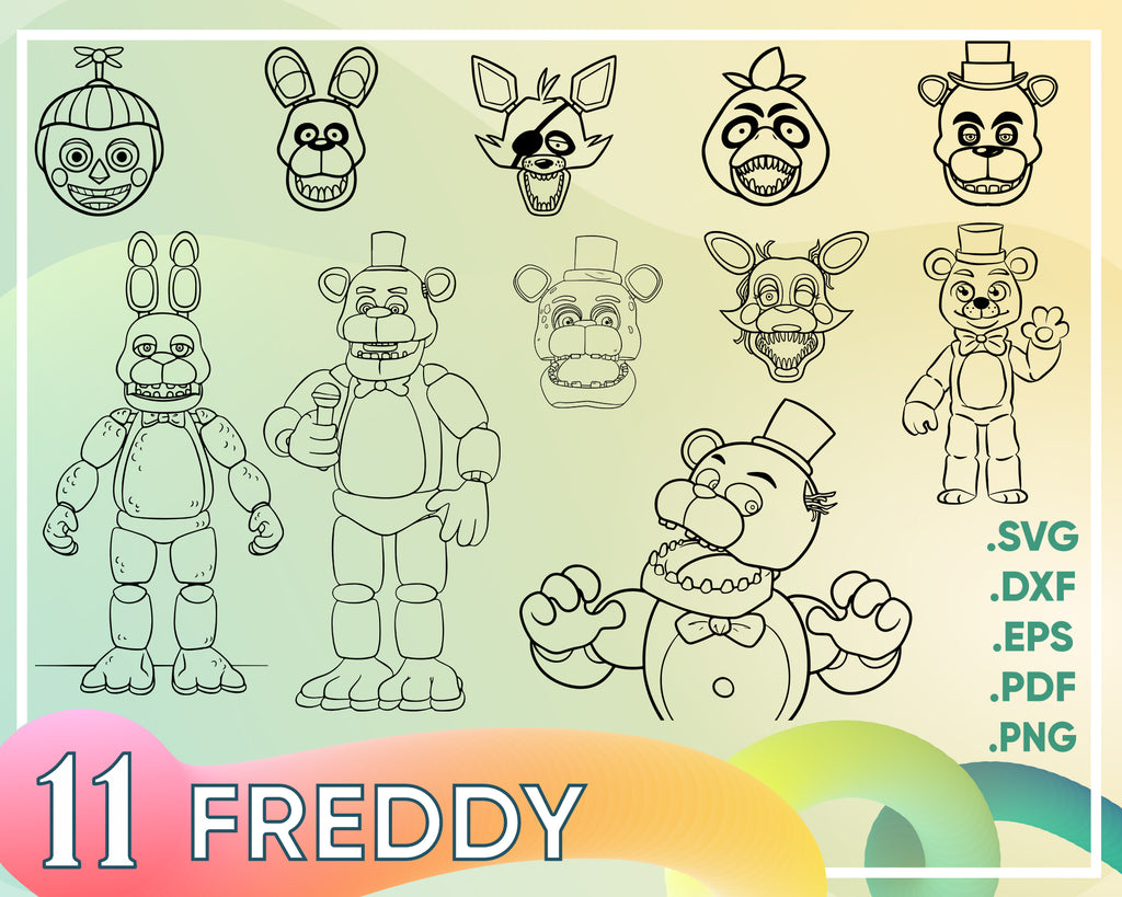 Freddy svg, Five Nights at Freddy LAYERED SVG, Freddy svg, freddy cut file, freddy cricut, foxy svg, foxy printable, chica svg, chica cut file