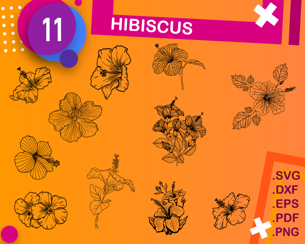 HIBISCUS SVG, hibiscus clipart, hawaii flower, silhouette, stencil, flower svg, floral svg, garden svg, cut file, iron on, cricut file