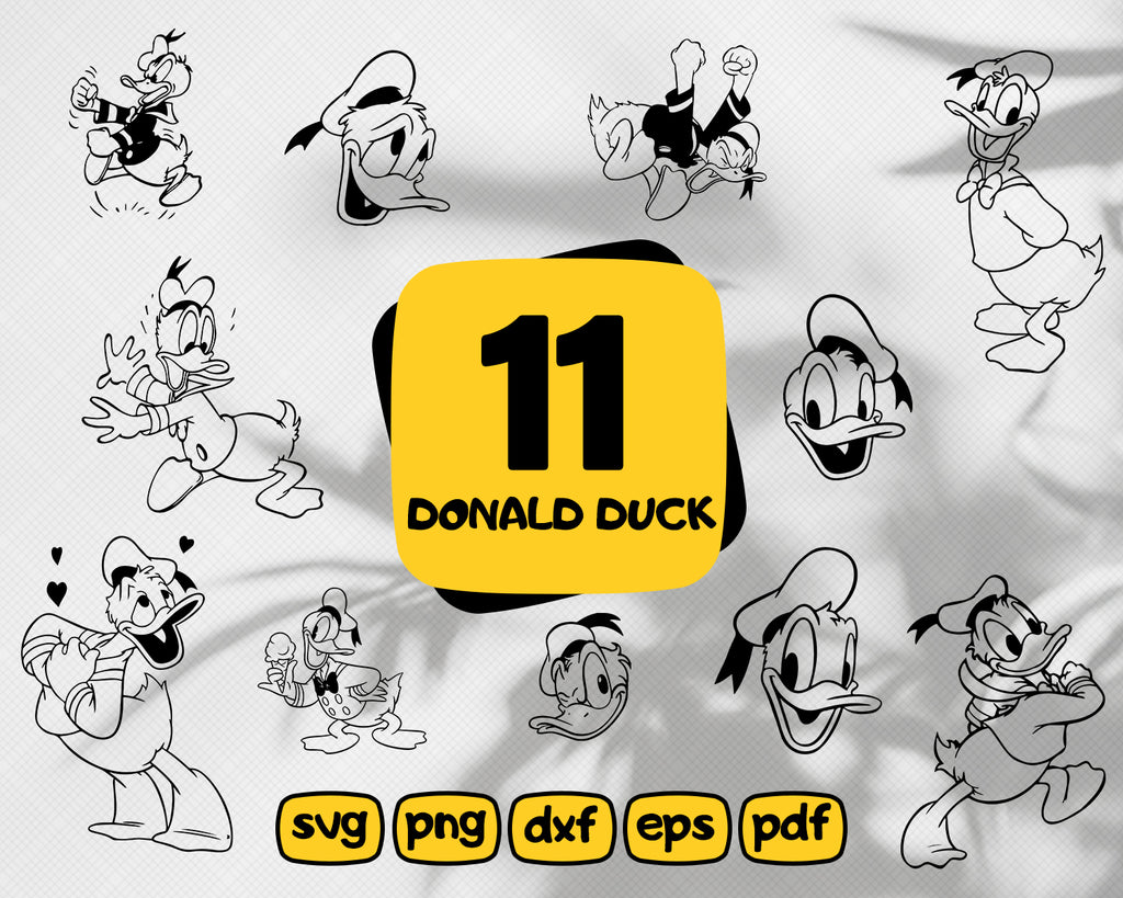 DONALD DUCK SVG, donald svg, donald duck dxf, donald duck clipart, donald duck cricut, donald silhouette, daisy duck svg, cartoon svg, vinyl