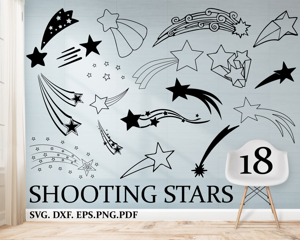 Shooting stars svg, stars svg bundle, star vector, shooting stars svg file for cricut, outer space design elements, clip art , star silhouette png, dxf, esp, pdf, svg