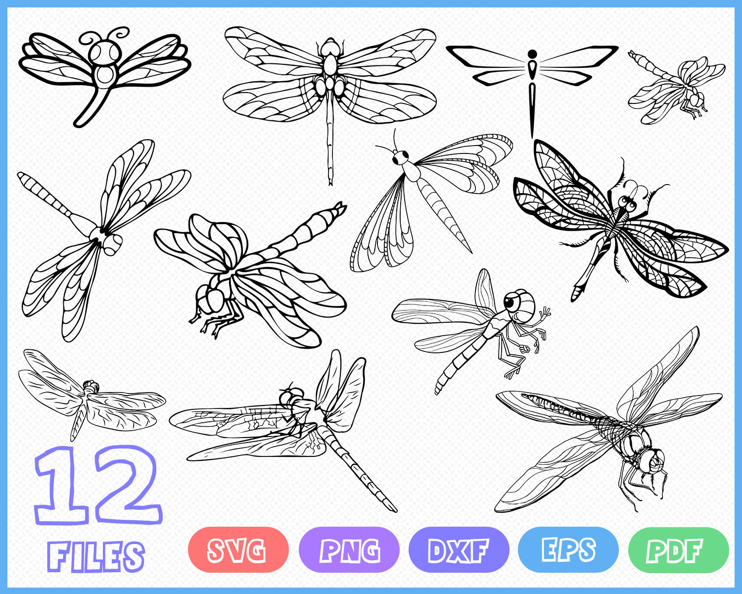 Dragonfly Svg Dragonfly Clipart Insect Svg Pattern Patterned Clipartic