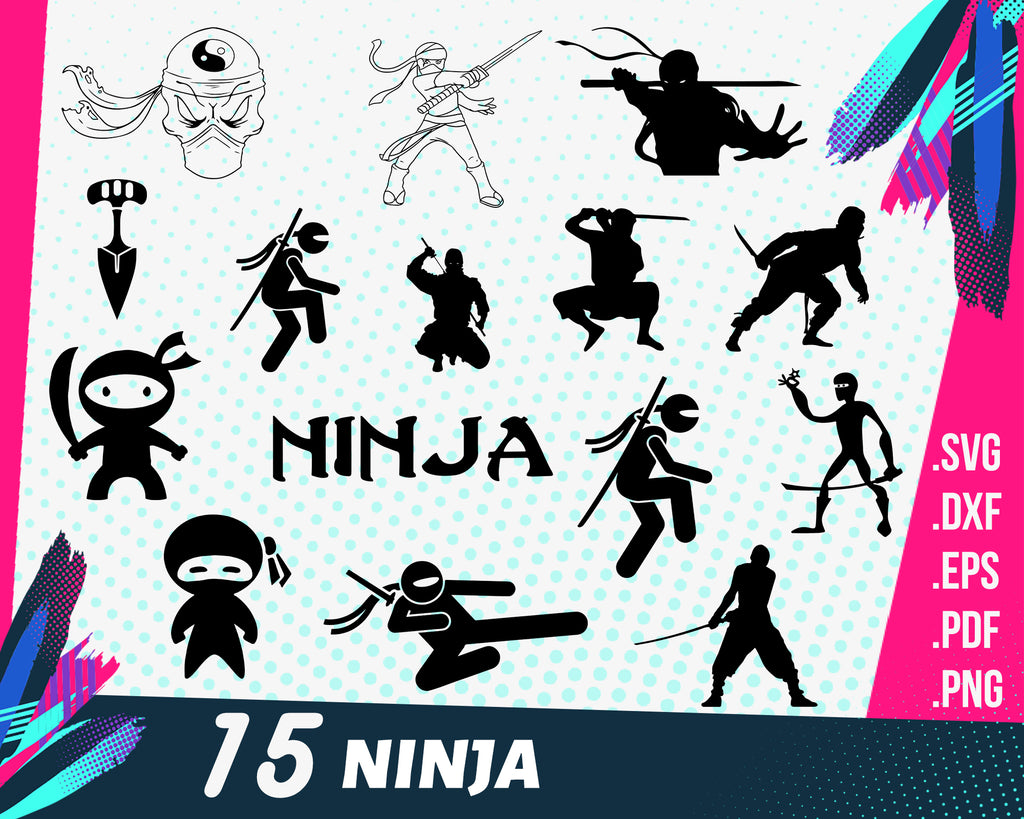 Ninja SVG Bundle, Ninja svg file for cricut, Chinese star Design Elements Vector image, clip art svg, png, dxf, esp Ninja boy karate clipart