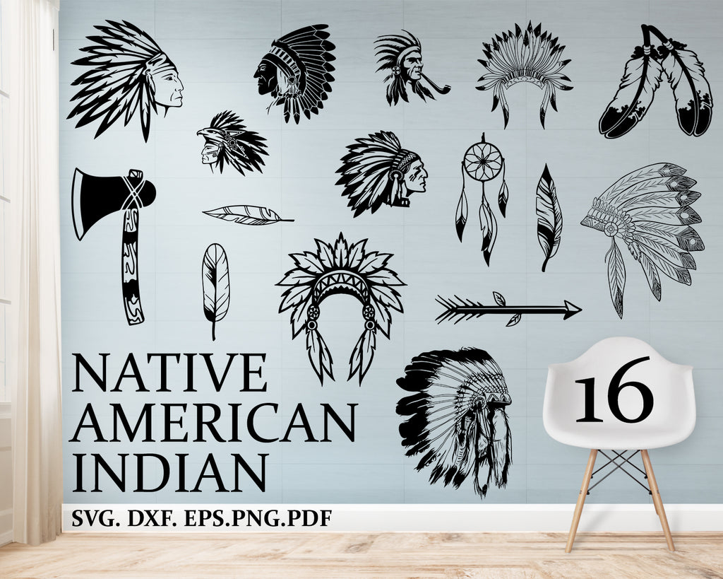 Native american indian svg Bundle, Vector Images, silhouette, Clip Art, Files For Cricut, Eps, Png, DXF, ClipArt