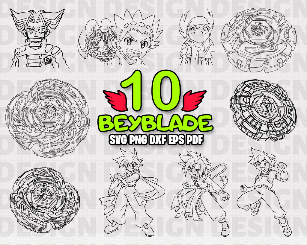 Beyblade SVG, clipart, silhouette, stencil, file cricut, cut file, cutting file, vector files - .EPS .DXF .SVG .PNG .PDF, vinyl design, files for crafters, instant download