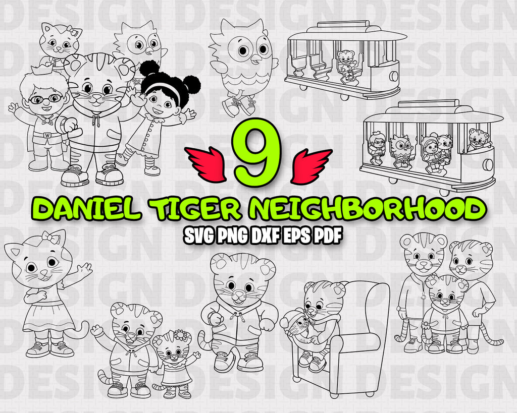 DANIEL TIGER NEIGHBORHOOD SVG, DXF, PNG, EPS, Cut File, vinyl decal, Cricut Design, Silhouette studio, digital instant download