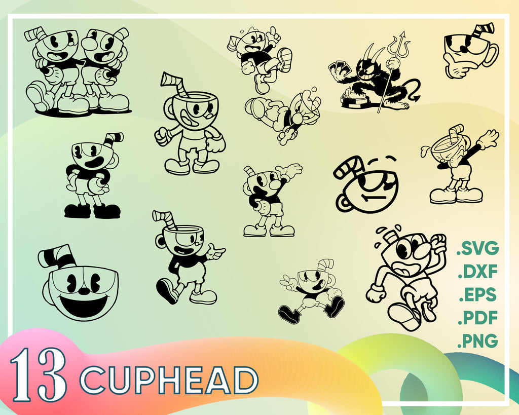 Cuphead svg, Cuphead SVGs - 24 Cuphead SVG, DXF files for Silhouette, Cricut,  cuphead svg, vector, t-shirt design, t-shirt design svg, cricut svg, cameo svg, vector, vector svg.