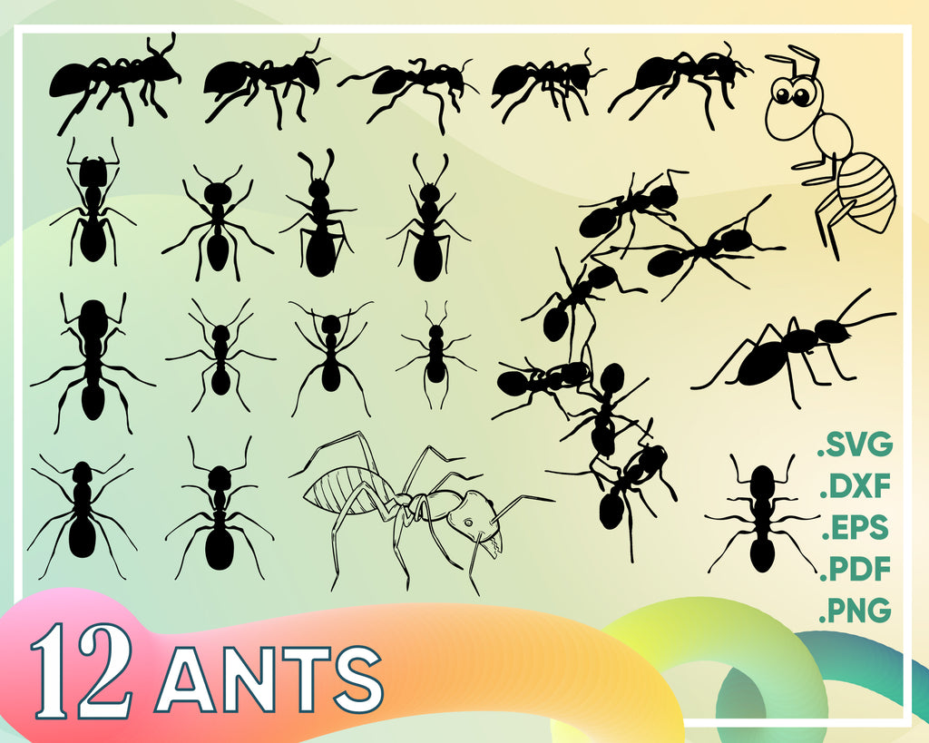 Ant SVG Bundle, Ant SVG, Ant Clipart, Ant Cut Files For Silhouette, Ant Files for Cricut, Ant Vector, Insect Svg, Dxf, Ant Png, Eps, Design