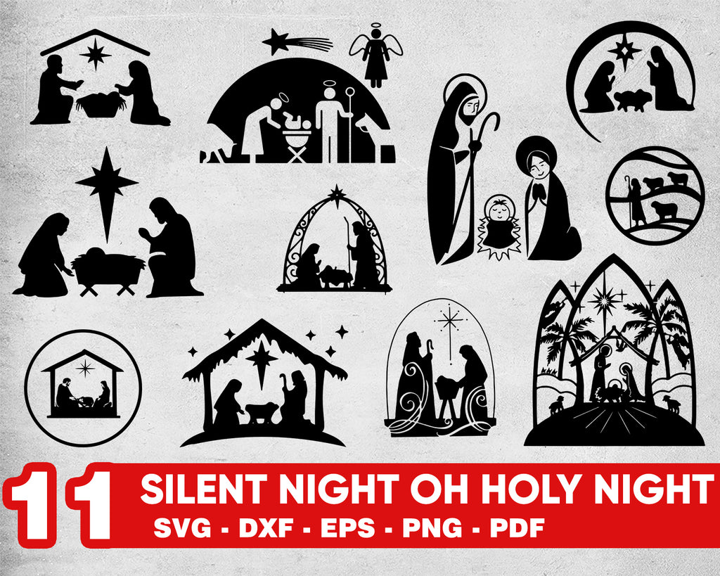 Silent Night oh Holy Night svg, Nativity scene silent night oh holy night svg, jesus baby christmas svg, clipart, cut files for cricut silhouette
