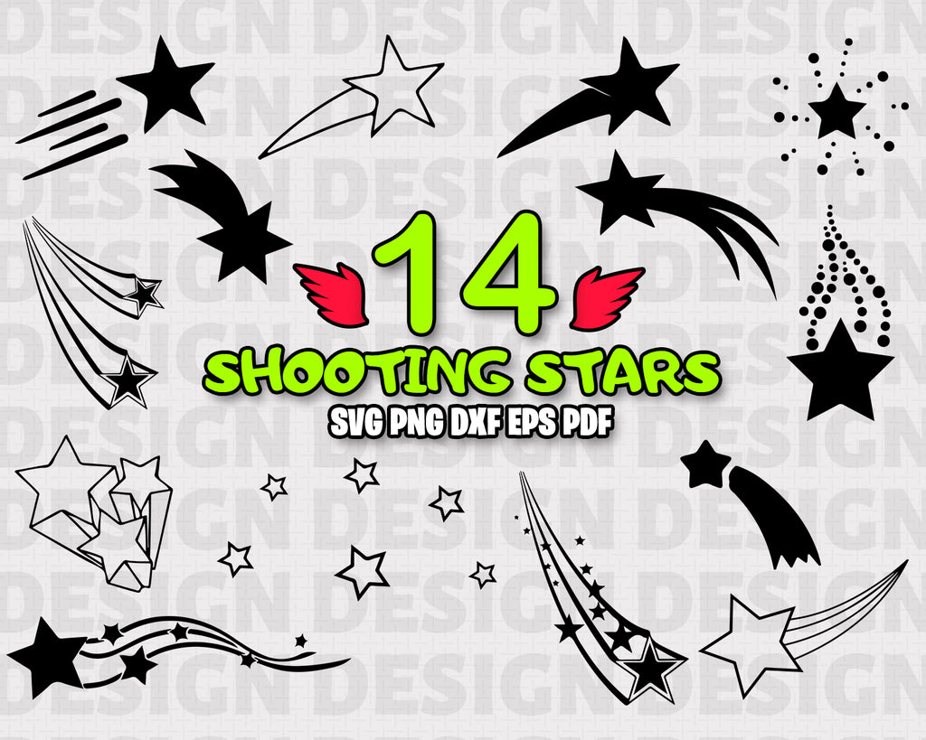 Stars SVG Bundle, Star Vector, Shooting Stars svg file for cricut, Outer space Design Elements, clip art, Star Silhouette png, dxf, esp
