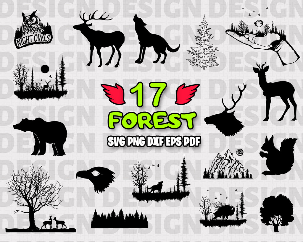 Forest SVG, Forest Bundle, Forest Vector, Tree SVG, Forest Clipart, Cut Files For Silhouette, Files for Cricut, Forest Vector, Woods Svg, Png, Vinyl Design, Instant Download