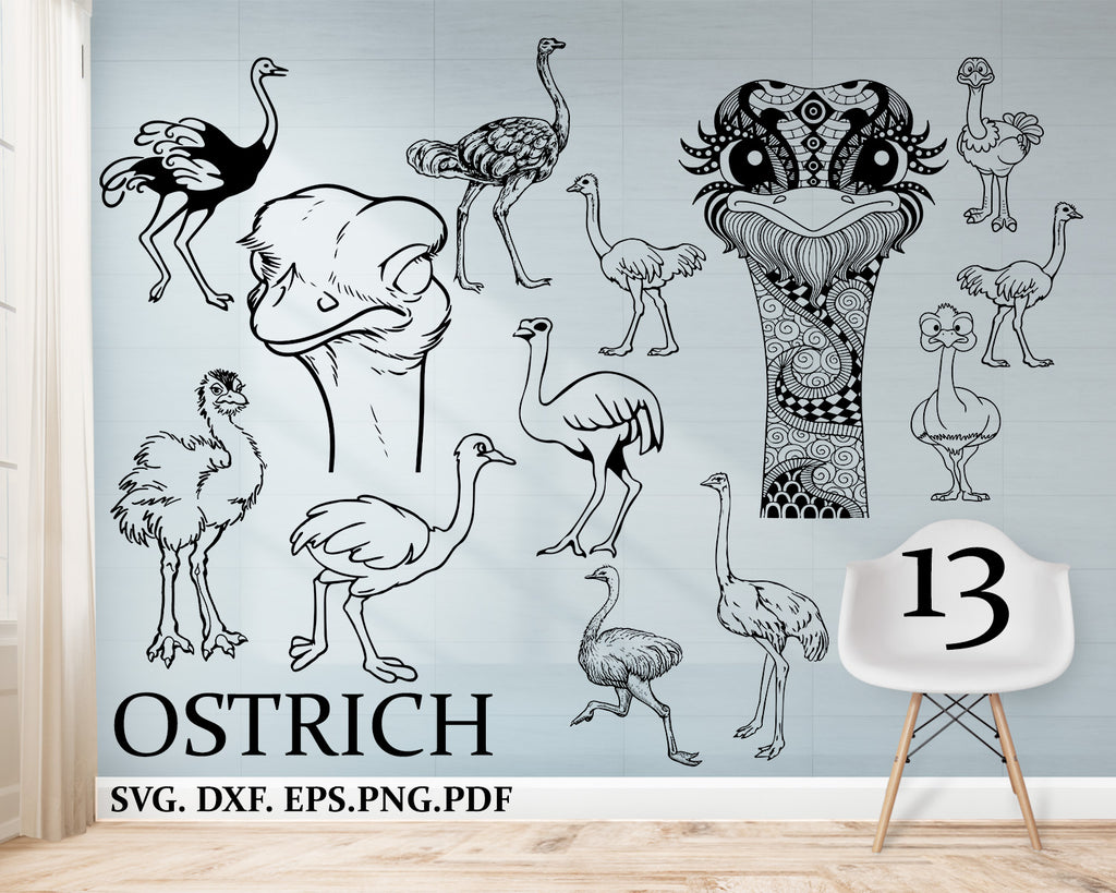Ostrich svg, ostrich clipart, zentangle ostrich, allegedly svg, ostrich cut file, head ostrich SVG, ostrich silhouette, ostrich cricut, dxf