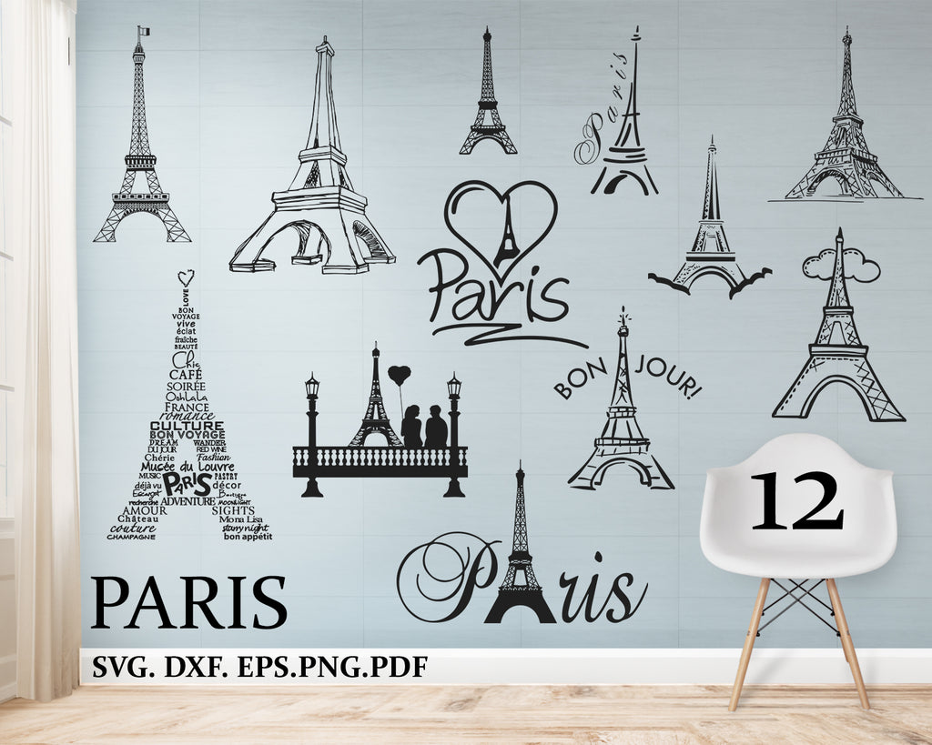 Paris svg bundle, France svg bundle, Paris cut file, Paris clipart, Paris svg files for silhouette, files for cricut, svg, dxf, eps, png