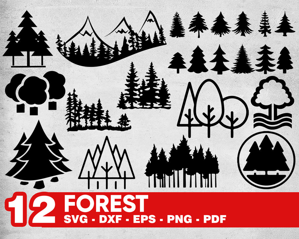 Forest svg, FOREST SVG, tree svg, woods svg, forest silhouette, forest clipart, forest vector, pine tree svg,forest svg bundle,pine trees svg,cricut svg