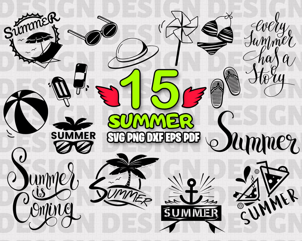 Summer SVG, clipart, silhouette, stencil, file cricut, cut file, cutting file, vector files - .EPS .DXF .SVG .PNG .PDF, vinyl design, files for crafters, instant download