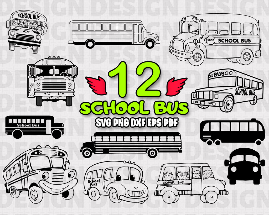 SCHOOL BUS SVG, School Bus Bundle, School Bus Vector, School Bus Clipart, Cut Files For Silhouette, Files for Cricut, Vector, Svg, Dxf, Png, Eps, Vinyl Design, Instant Download