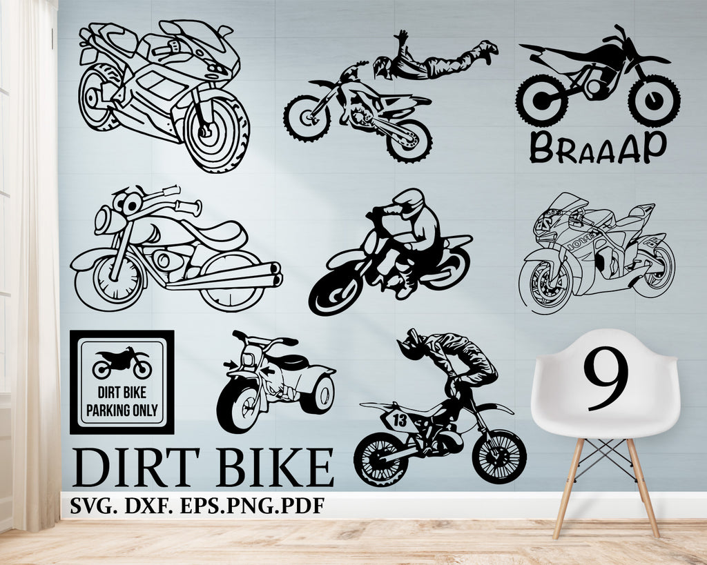 Dirt bike svg, Motocross Svg, Dirt Bike Clipart, Dirt Bike Files for Cricut, Dirt Bike Cut Files For Silhouette, Dxf, Png, Eps, Svg, Pdf